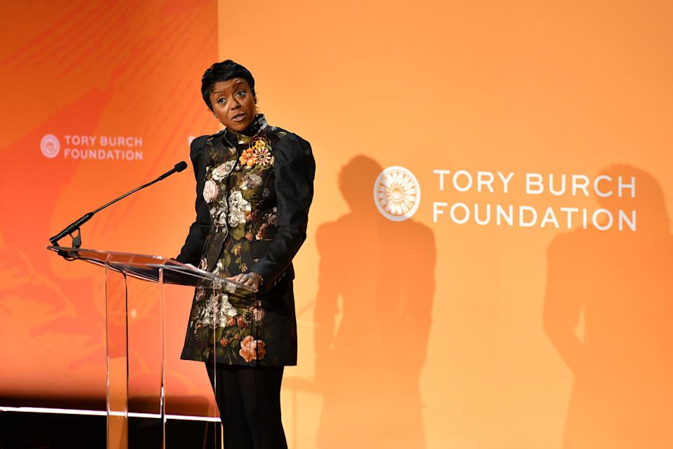 NEW YORK, NEW YORK - MARCH 05: Mellody Hobson, Co-CEO & President, Ariel Investments speaks onstage during the 2020 Embrace Ambition Summit by the Tory Burch Foundation at Jazz at Lincoln Center on March 05, 2020 in New York City.  (Photo by Craig Barritt/Getty Images for Tory Burch Foundation)