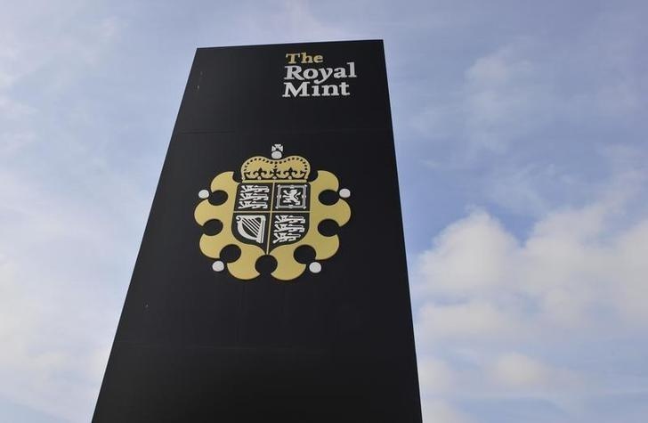 A sign is seen outside the Royal Mint in Cardiff