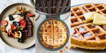 """<p><a href=""""https://www.delish.com/uk/cooking/recipes/a33563157/waffle-recipe/"""" rel=""""nofollow noopener"""" target=""""_blank"""" data-ylk=""""slk:Waffles"""" class=""""link rapid-noclick-resp"""">Waffles</a> are, and will always be, a top-notch <a href=""""https://www.delish.com/uk/cooking/recipes/a30499789/breakfast-burrito/"""" rel=""""nofollow noopener"""" target=""""_blank"""" data-ylk=""""slk:breakfast"""" class=""""link rapid-noclick-resp"""">breakfast</a>. Not to mention, brunch, lunch and dessert. They're the perfect all-round type of meal that can work for a range of different meals throughout the day. And with everything from <a href=""""https://www.delish.com/uk/cooking/recipes/a30849292/chocolate-chip-cookie-waffles-recipe/"""" rel=""""nofollow noopener"""" target=""""_blank"""" data-ylk=""""slk:Chocolate Chip Cookie Waffles"""" class=""""link rapid-noclick-resp"""">Chocolate Chip Cookie Waffles</a> to <a href=""""https://www.delish.com/uk/cooking/recipes/a29261112/best-churro-waffle-dippers-recipe/"""" rel=""""nofollow noopener"""" target=""""_blank"""" data-ylk=""""slk:Churro Waffle Dippers"""" class=""""link rapid-noclick-resp"""">Churro Waffle Dippers</a>, and <a href=""""https://www.delish.com/uk/cooking/recipes/a35679325/mini-egg-waffles/"""" rel=""""nofollow noopener"""" target=""""_blank"""" data-ylk=""""slk:Mini Egg Waffles"""" class=""""link rapid-noclick-resp"""">Mini Egg Waffles</a> to <a href=""""https://www.delish.com/uk/cooking/recipes/a34697360/pizza-waffles-recipe/"""" rel=""""nofollow noopener"""" target=""""_blank"""" data-ylk=""""slk:Pizza Waffles"""" class=""""link rapid-noclick-resp"""">Pizza Waffles</a>, there's no wonder why we love them so much. </p><p>Struggling for inspiration? We've got a bunch of insanely-easy waffle recipes for you to give a go! </p><p>PSA: did you know you can make <a href=""""https://www.delish.com/uk/cooking/recipes/a30638933/waffle-iron-brownies-recipe/"""" rel=""""nofollow noopener"""" target=""""_blank"""" data-ylk=""""slk:brownies in your waffle maker"""" class=""""link rapid-noclick-resp"""">brownies in your waffle maker</a>? Well, now you do...</p>"""