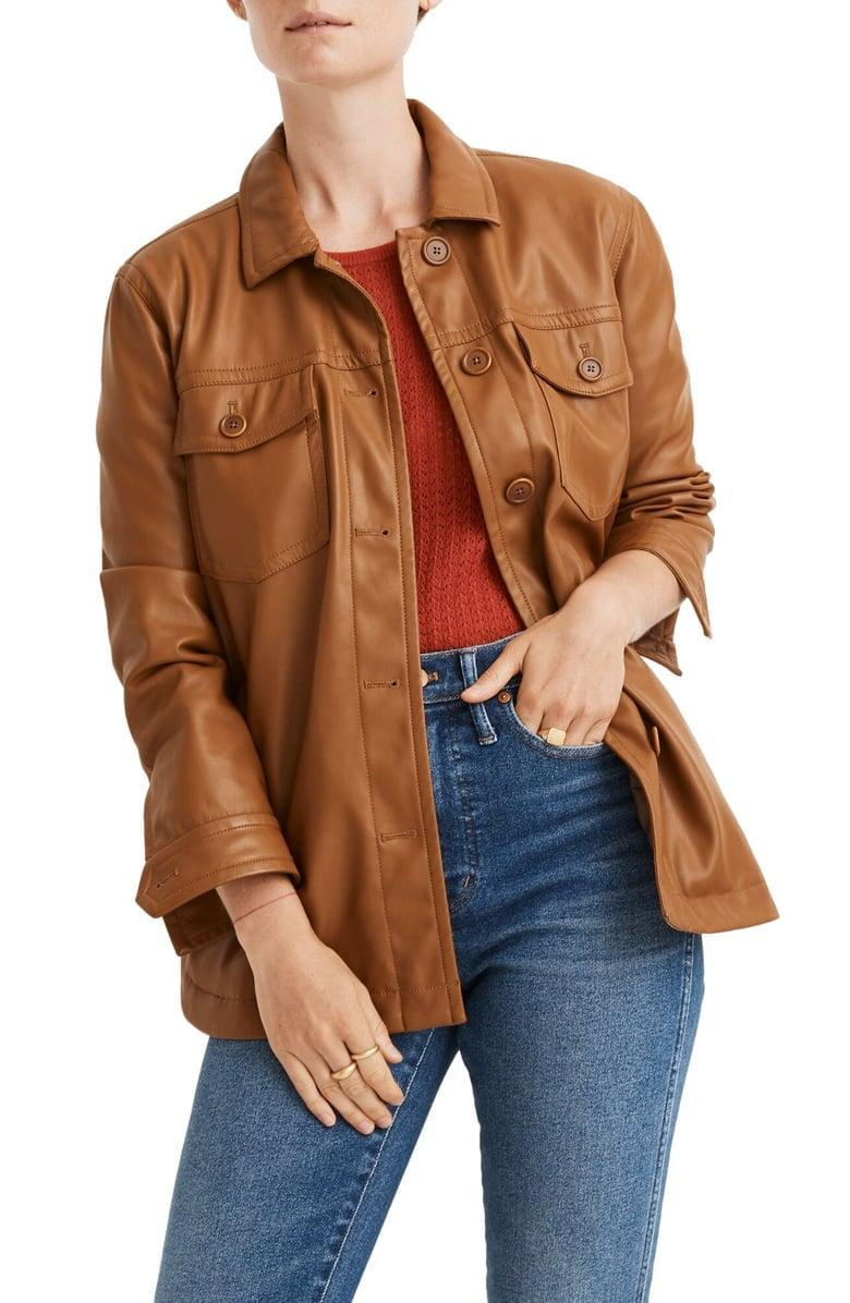 <p><span>Madewell Faux Leather Chore Jacket</span> ($74, originally $198)</p>