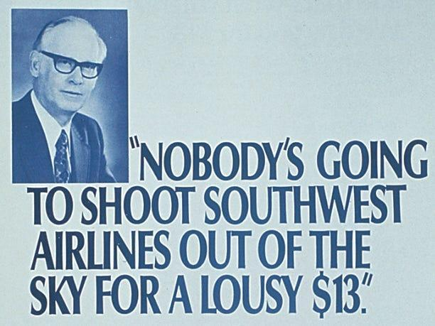 Southwest ad against Braniff's $13 fare war