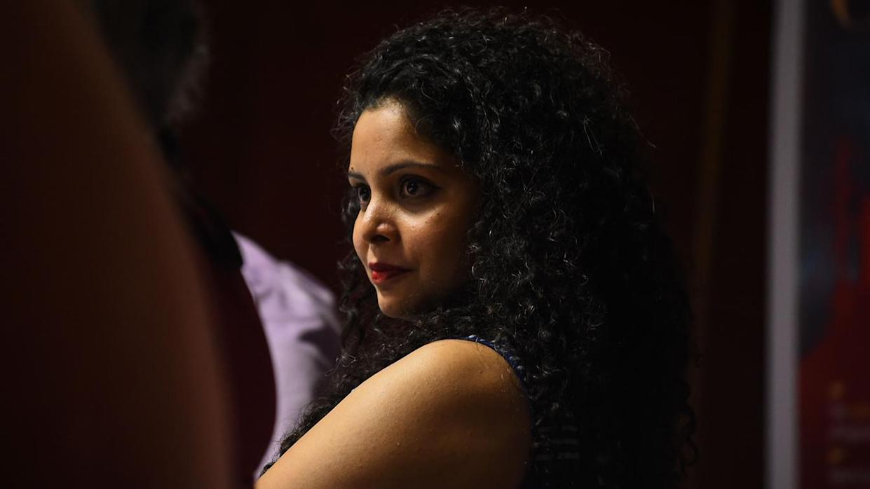 Rana Ayyub, a journalist and author, at the launch in New Delhi of her self-published book,