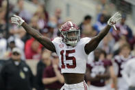 FILE - In this Oct. 12, 2019, file photo, Alabama defensive back Xavier McKinney (15) calls a play during the second half of an NCAA college football game against Texas A&M, in College Station, Texas. McKinney was selected to The Associated Press All-Southeastern Conference football team, Monday, Dec. 9, 2019. (AP Photo/Sam Craft, File)