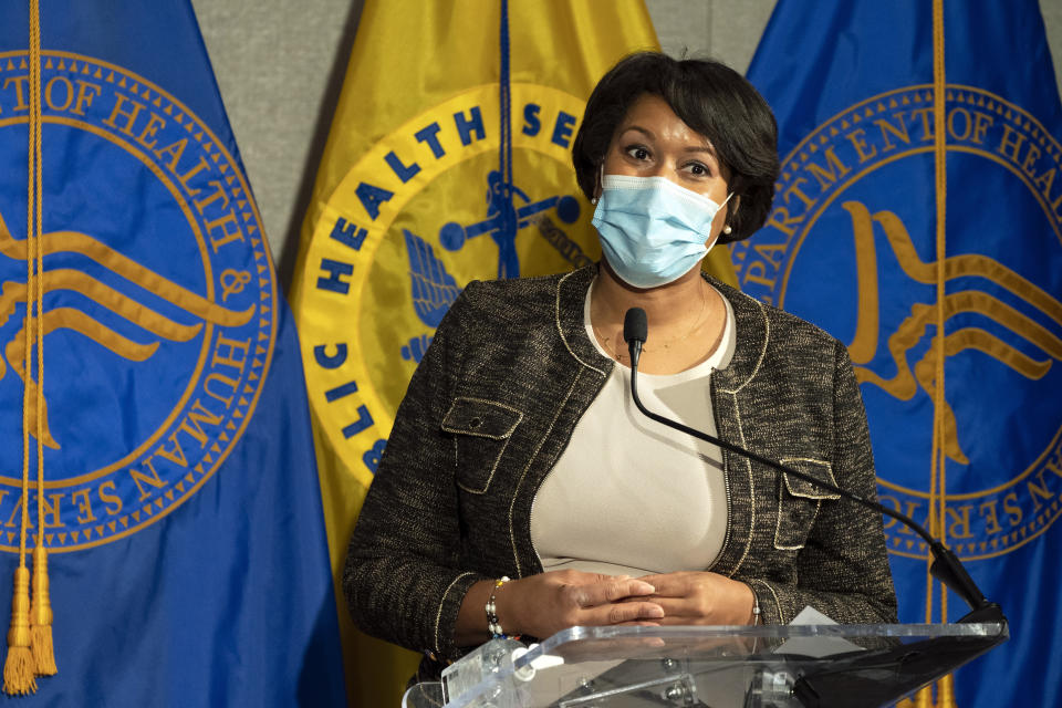 District of Columbia Mayor Muriel Bowser speaks during a news conference about the COVID-19 vaccine with Health and Human Services Secretary Alex Azar and Surgeon General Jerome Adams at George Washington University Hospital, Monday, Dec. 14, 2020, in Washington. (AP Photo/Jacquelyn Martin, Pool)