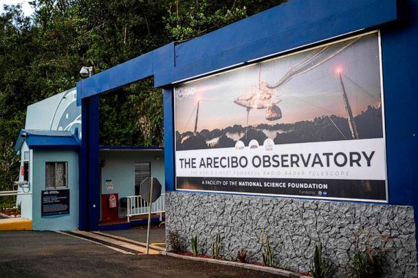 PHOTO: The main entrance of the Arecibo Observatory is seen in Arecibo, Puerto Rico on Nov. 19, 2020. (Ricardo Arduengo/AFP via Getty Images)
