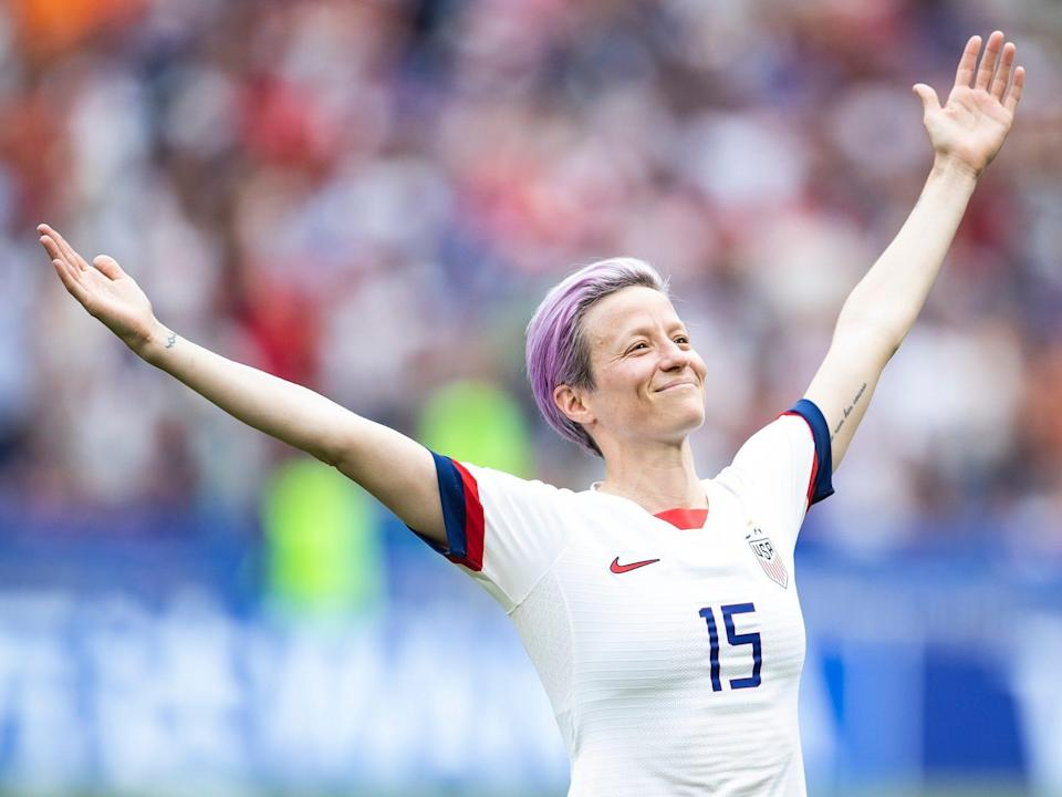 Megan Rapinoe on the field at the 2019 World Cup