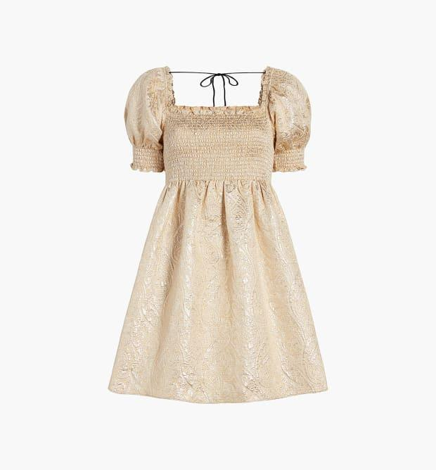 """<p>Hill House Home Nap Dress in Gold Brocade, $200, <a href=""""https://rstyle.me/+ZyD1s9shAshFgEhZGJnrAw"""" rel=""""nofollow noopener"""" target=""""_blank"""" data-ylk=""""slk:available here"""" class=""""link rapid-noclick-resp"""">available here</a> (sizes XS - 2XL).</p>"""