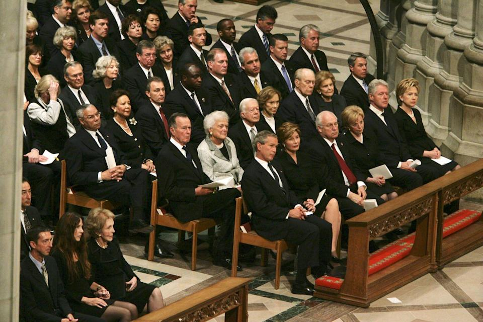 <p>Along with the coffin being wrapped in an American flag and a military salute at the Arlington National Cemetery, many of the funeral's attendees include former Presidents and foreign leaders. </p>