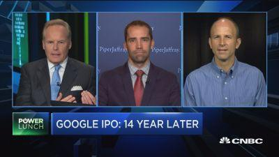 Michael Olson, Piper Jaffray, and Kevin Delaney, Quartz, discuss Alphabet's business segments like Android and search on the 14th anniversary of Google's IPO.