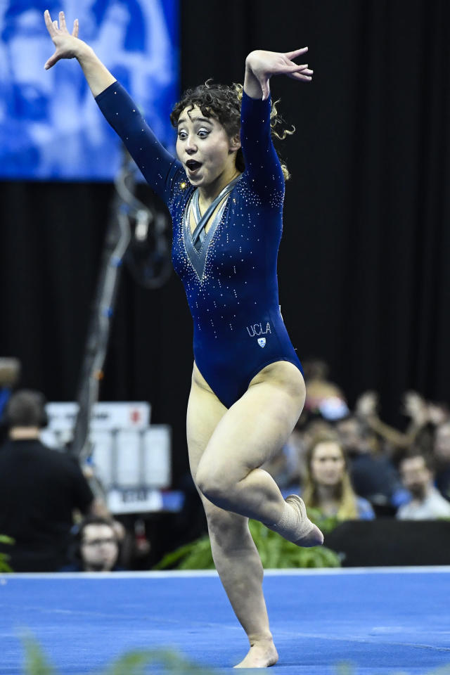 Katelyn Ohashi #563 of UCLA performs a floor routine during the Division I Women's Gymnastics Championship held at Chaifetz Arena on April 21, 2018 in St Louis, Missouri. UCLA won with a score of 197.5625 points. (Photo by Tim Nwachukwu/NCAA Photos via Getty Images)