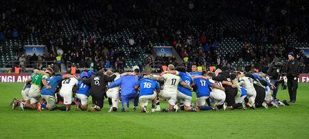 Rugby Union - Autumn Internationals - England vs Samoa - Twickenham Stadium, London, Britain - November 25, 2017 England and Samoa players huddle after the match REUTERS/Toby Melville