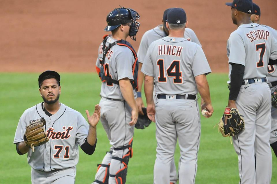 Detroit Tigers reliever Miguel Del Pozo (71) walks off the mound during a pitching change in the fifth inning against Cleveland in Cleveland, June 28, 2021.