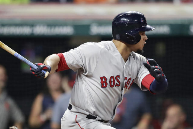 Boston Red Sox's Marco Hernandez watches his ball RBI single during the fifth inning of the team's baseball game against the Cleveland Indians, Tuesday, Aug. 13, 2019, in Cleveland. (AP Photo/Tony Dejak)
