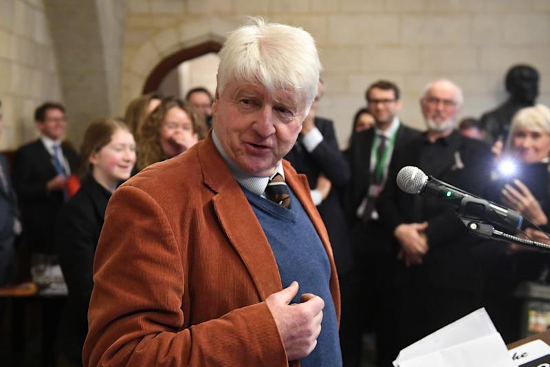 Stanley Johnson speaks at the Houses of Parliament in Westminster, London, during an event calling for a ban on trophy hunting imports.