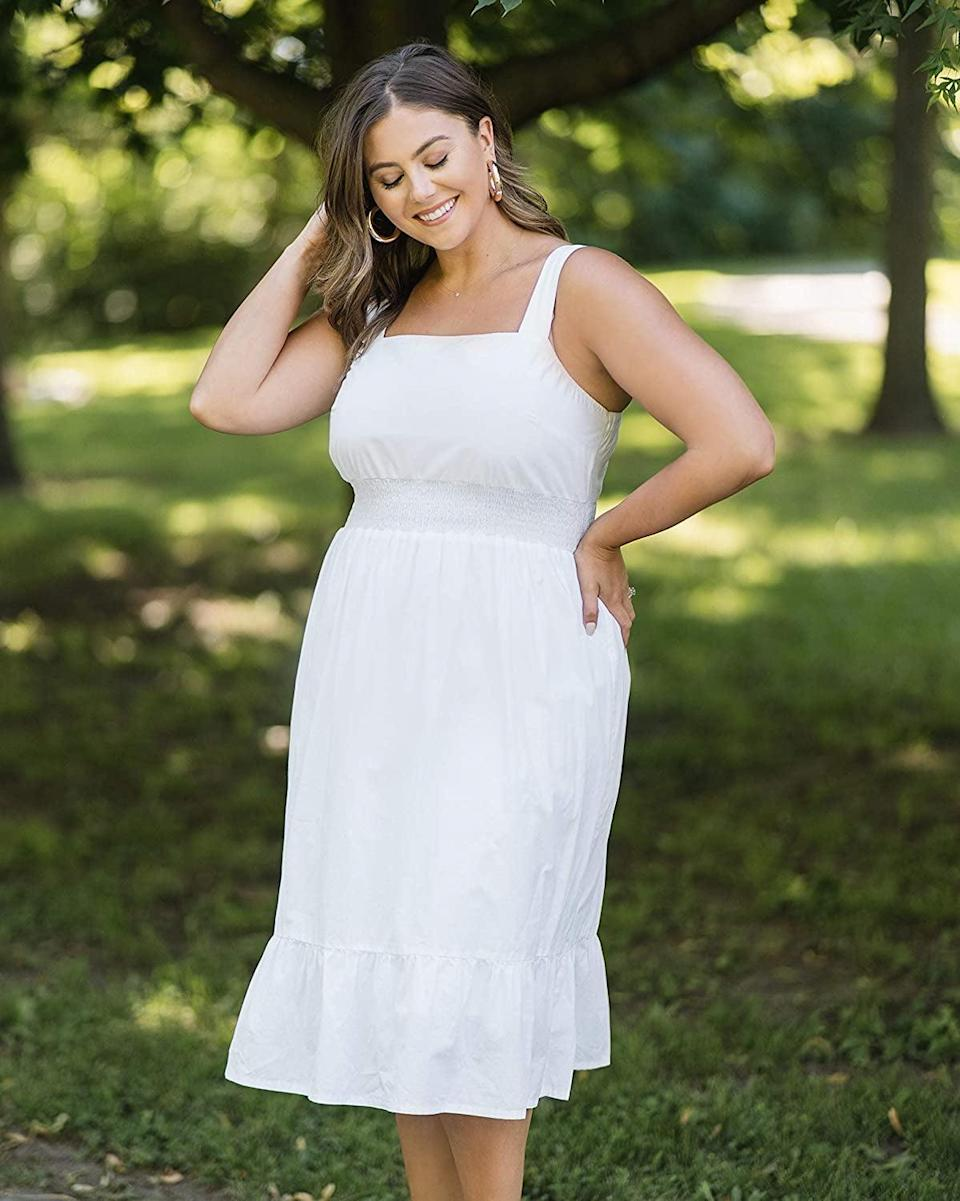 <p>This <span>The Drop Strappy Midi Dress</span> ($55) is the perfect style for your next all-white party, whether it's a rooftop celebration or a cruise. Finish the look with some mules and a dainty necklace.</p>