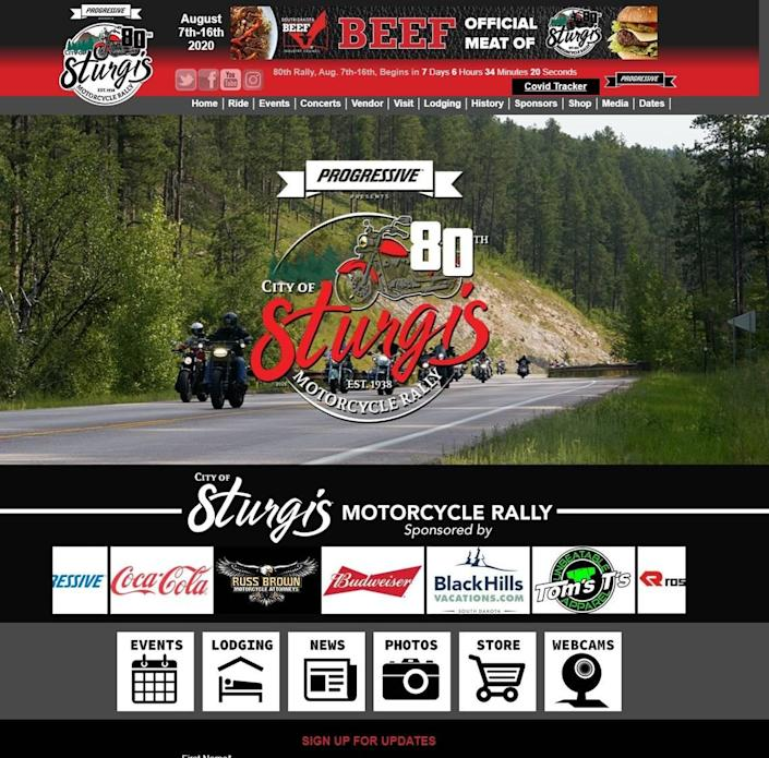 This screenshot shows that despite concerns that the 80th annual motorcycle rally in Sturgis, South Dakota, could become a super-spreader event for the coronavirus, corporate sponsors are sticking with the event than runs from Aug. 7-16.