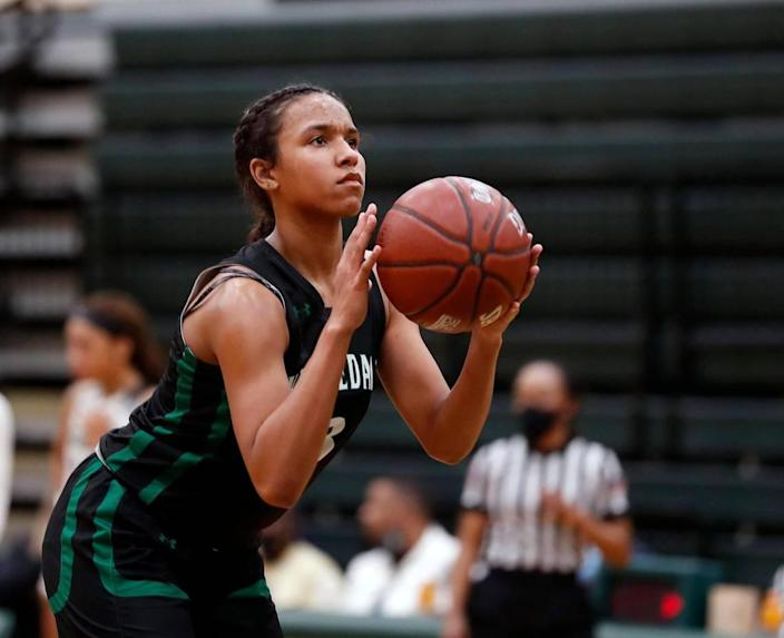 Kennedale guard Reagan Jackson (3) shoots one of her technical shots during the second half of a 4A Region 2 quarterfinal basketball game at DeSoto High School in DeSoto, Texas, Wednesday, Feb. 24, 2021. Pinkston defeated Kennedale 47-38. (Special to the Star-Telegram Bob Booth)