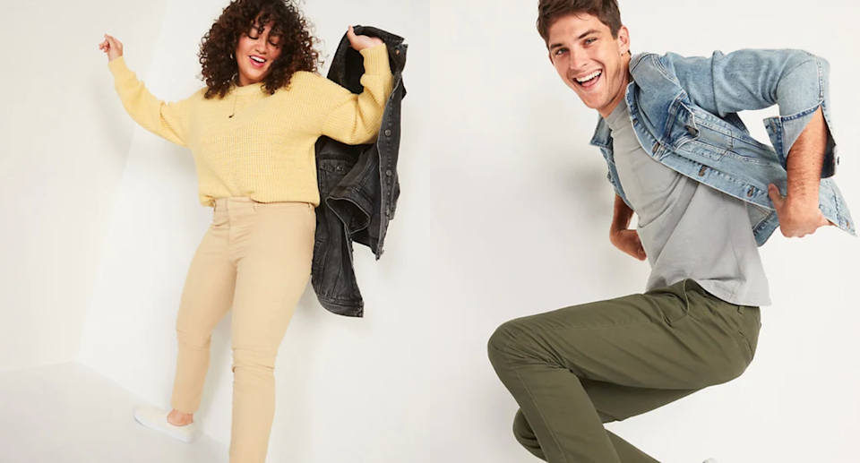 Today only, stock up on pants for the whole family starting at just $10 at Old Navy. Images via Old Navy.