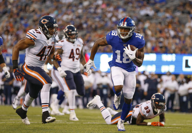 New York Giants wide receiver Bennie Fowler (18) runs for a touchdown against the Chicago Bears during the first quarter of a preseason NFL football game, Friday, Aug. 16, 2019, in East Rutherford, N.J. (AP Photo/Adam Hunger)