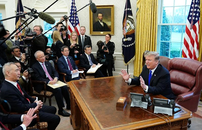 US President Donald Trump speaks during a meeting in the Oval Office with China's Vice Premier Liu He