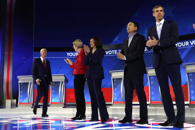 From left, former Vice President Joe Biden, Sen. Elizabeth Warren, D-Mass., Sen. Kamala Harris, D-Calif., entrepreneur Andrew Yang, and former Texas Rep. Beto O'Rourke are introduced for the Democratic presidential primary debate hosted by ABC on the campus of Texas Southern University Thursday, Sept. 12, 2019, in Houston. (AP Photo/Eric Gay)