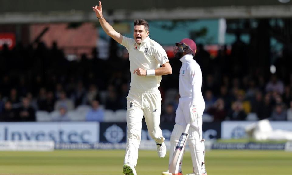 Jimmy Anderson celebrates the wicket of Royston Chase on day three of the Lord's Test against West Indies in September 2017