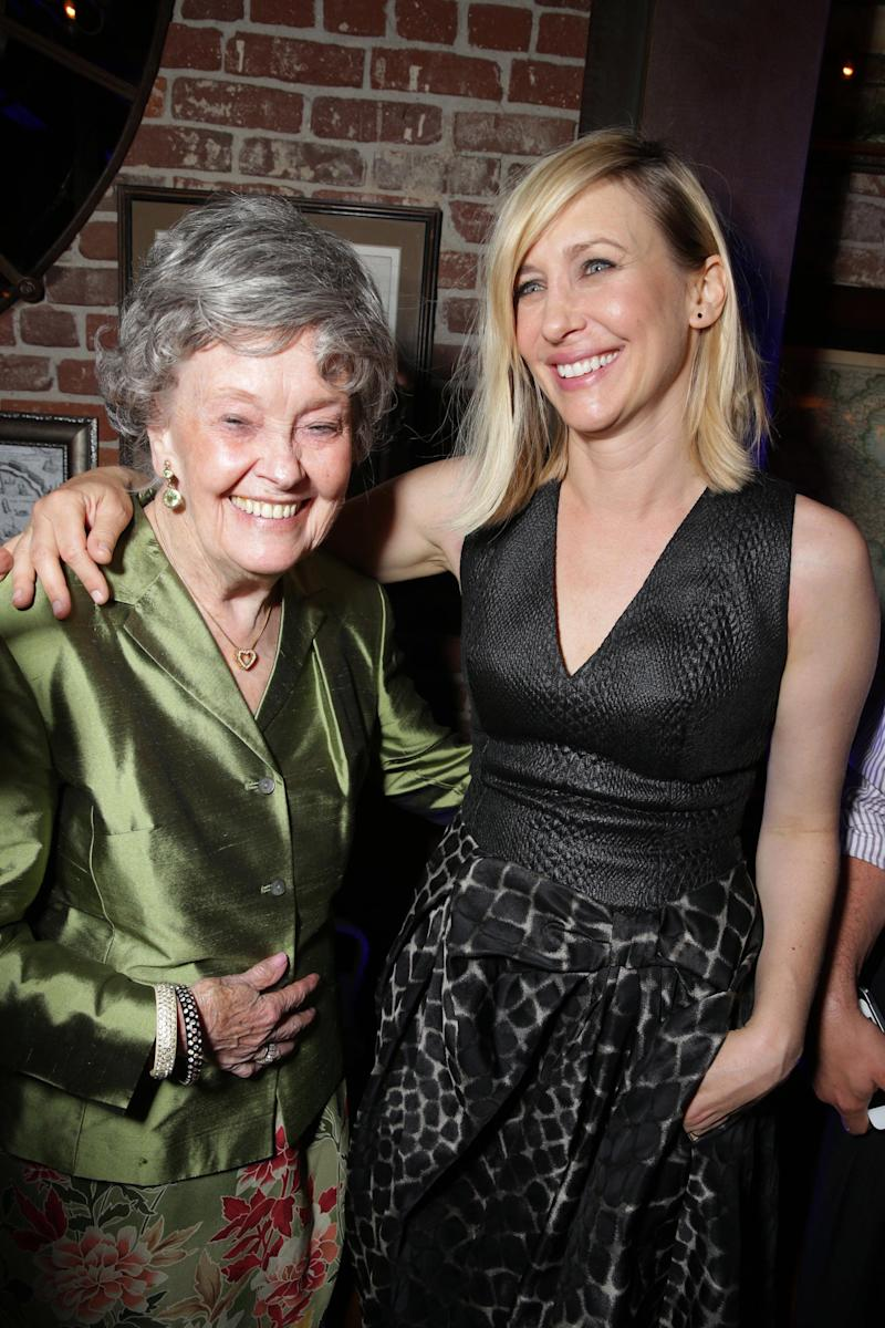 Lorraine Warren and Vera Farmiga seen at New Line Cinema's 'The Conjuring' Premiere, on Monday, July, 15, 2013 in Los Angeles. (Photo by Eric Charbonneau/Invision for New Line Cinema/AP Images)