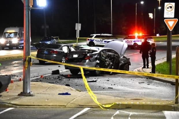 A man in his 30s is dead following a car collision Saturday morning. Peel police say they were called to the crash around 12:30 a.m. at Winston Churchill Boulevard and Burnhamthorpe Road West in Mississauga. (Jeremy Cohn/CBC News - image credit)