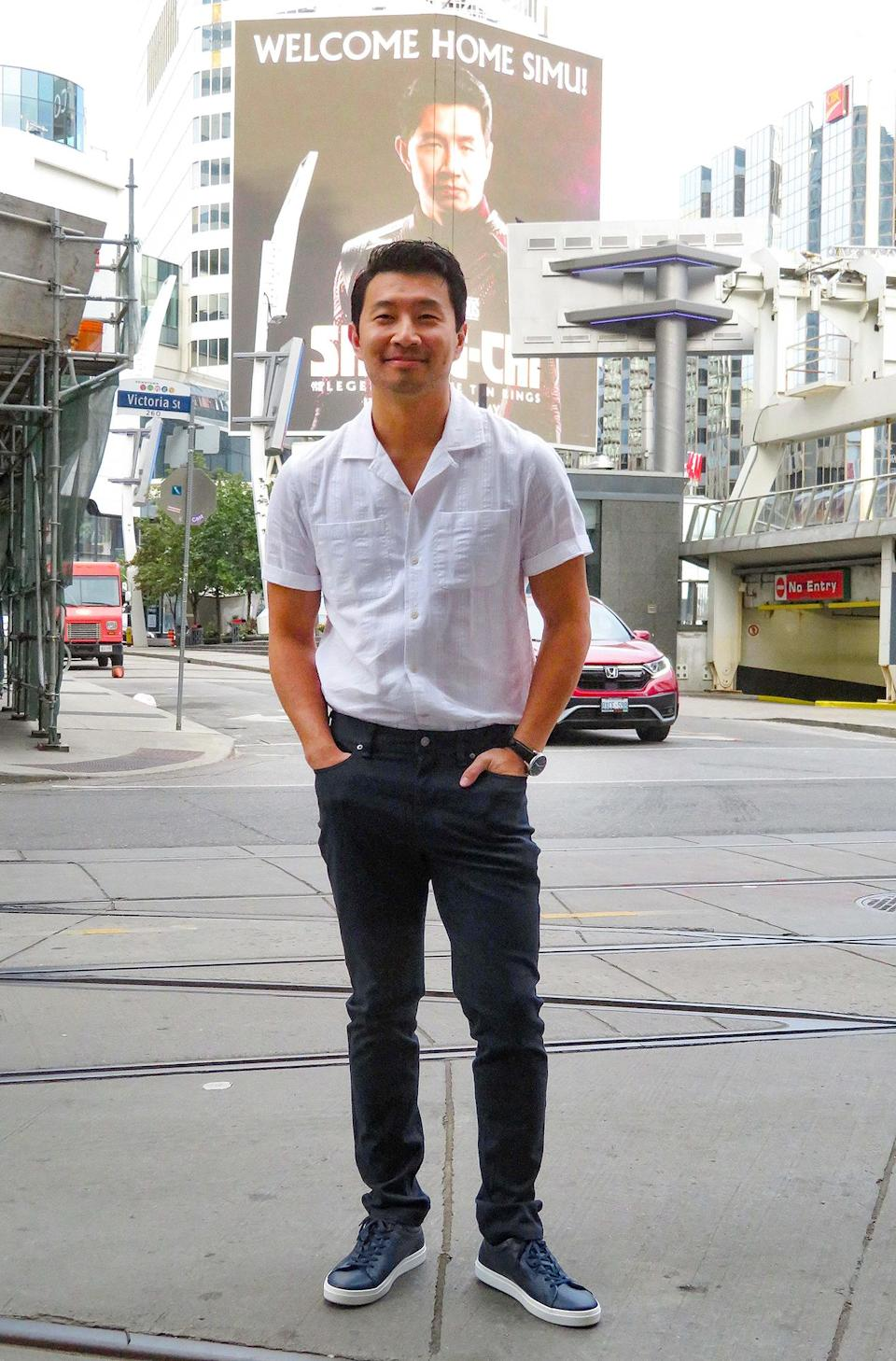 <p>Simu Liu promotes his new movie <em>Shang-Chi and the Legend of the Ten Rings</em> in his hometown of Toronto on Sept. 1.</p>