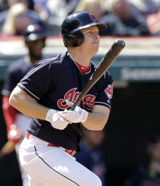 Cleveland Indians' Jay Bruce watches his ball after hitting an RBI-single off Baltimore Orioles starting pitcher Gabriel Ynoa in the fourth inning of a baseball game, Saturday, Sept. 9, 2017, in Cleveland. Carlos Santana scored on the play. (AP Photo/Tony Dejak)