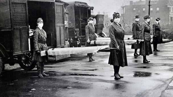 PHOTO: Red Cross Motor Corps are on duty during the Spanish Influenza epidemic in St. Louis in 1918. (Universal Images Group via Getty Images, FILE)