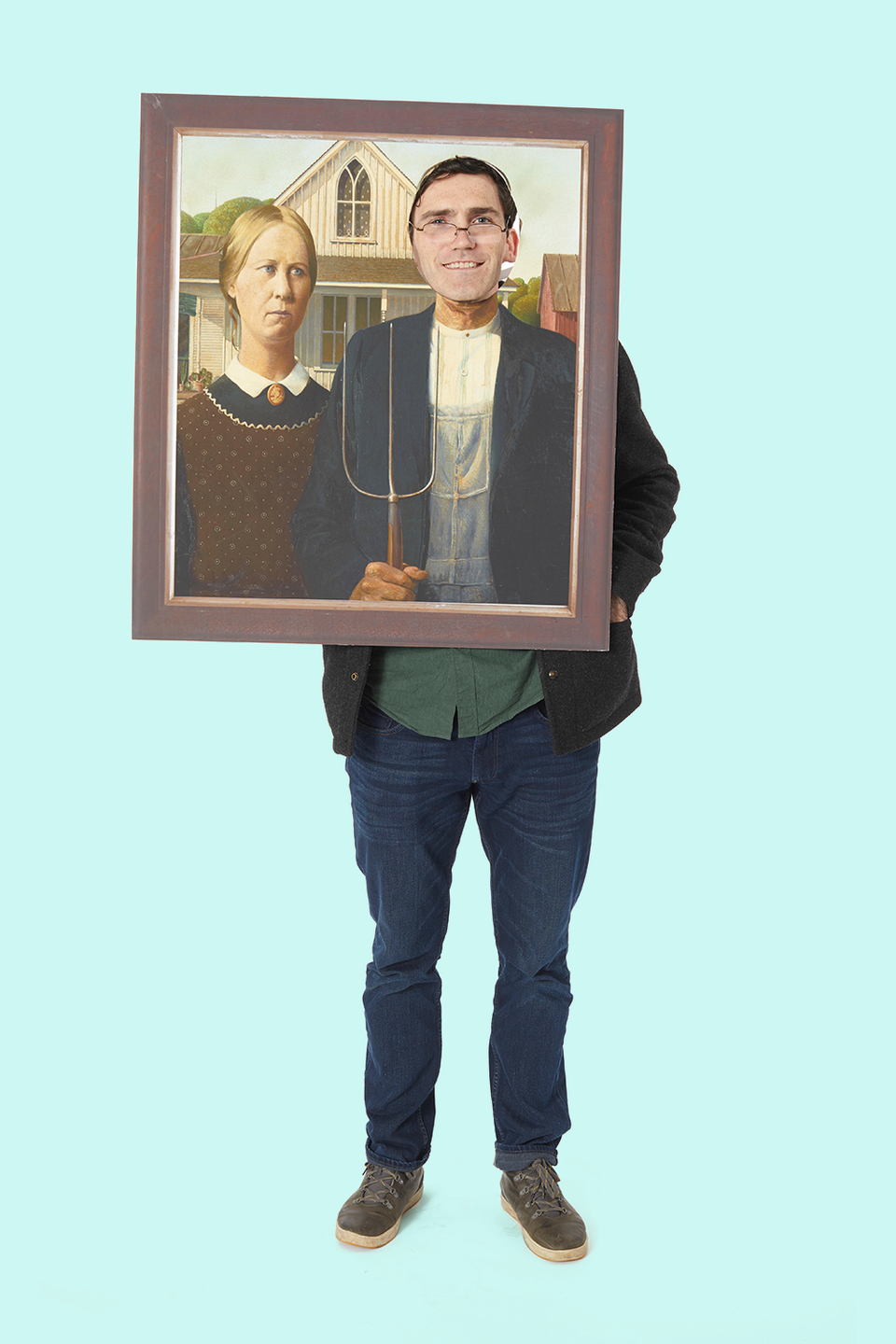 """<p>Get a print-out of Grant Wood's painting and cut a hole in it for your face. It's quick, easy, and a soon-to-be American classic.</p><p><a class=""""link rapid-noclick-resp"""" href=""""https://www.amazon.com/American-Gothic-Expensive-Paintings-Poster/dp/B01N55QSD1/?tag=syn-yahoo-20&ascsubtag=%5Bartid%7C10055.g.2750%5Bsrc%7Cyahoo-us"""" rel=""""nofollow noopener"""" target=""""_blank"""" data-ylk=""""slk:SHOP POSTERS"""">SHOP POSTERS</a><br></p>"""
