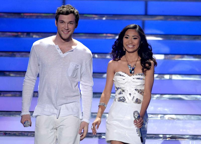"FILE - In this May 23, 2012 file photo, finalists Phillip Phillips, left, and Jessica Sanchez appear onstage at the ""American Idol"" Finale in Los Angeles. ""Idol"" winner Phillip Phillips will receive the same $300,000 advance given to last year's winner Scotty McCreery upon completion of his first album, according to the contracts. Coming in second on ""American Idol"" as Sanchez has, may still be a path to superstardom, but it no longer offers guaranteed paychecks worthy of the next pop idol or rock star. (Photo by John Shearer/Invision/AP, File)"