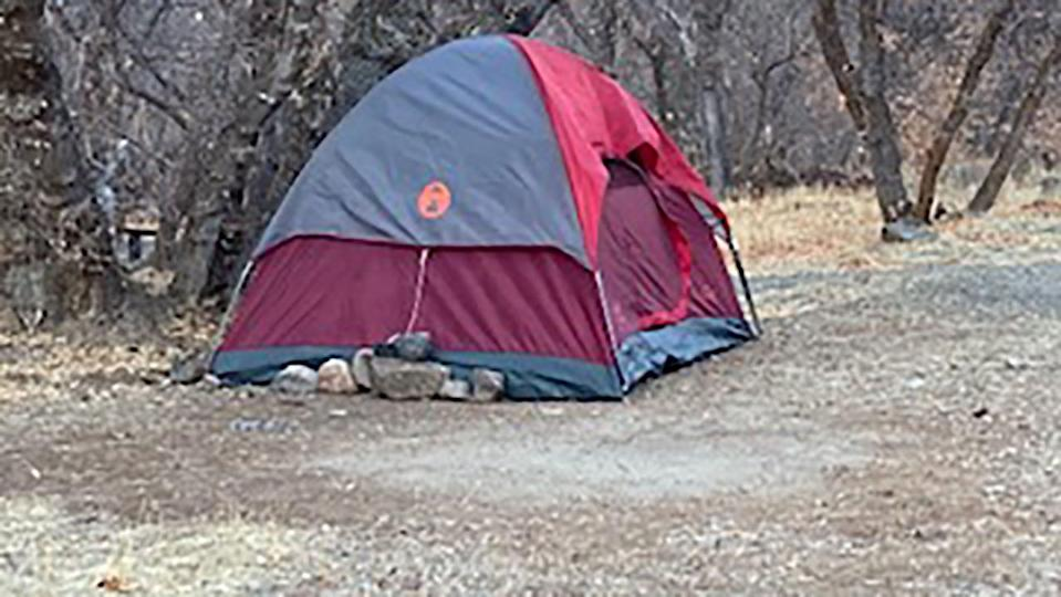 <p>A missing Utah woman was discovered living in this tent after not being seen for over five months</p> (Utah County Sheriff's Office )