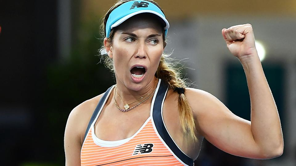 Danielle Collins, pictured here after her win over Ash Barty at the Adelaide International.