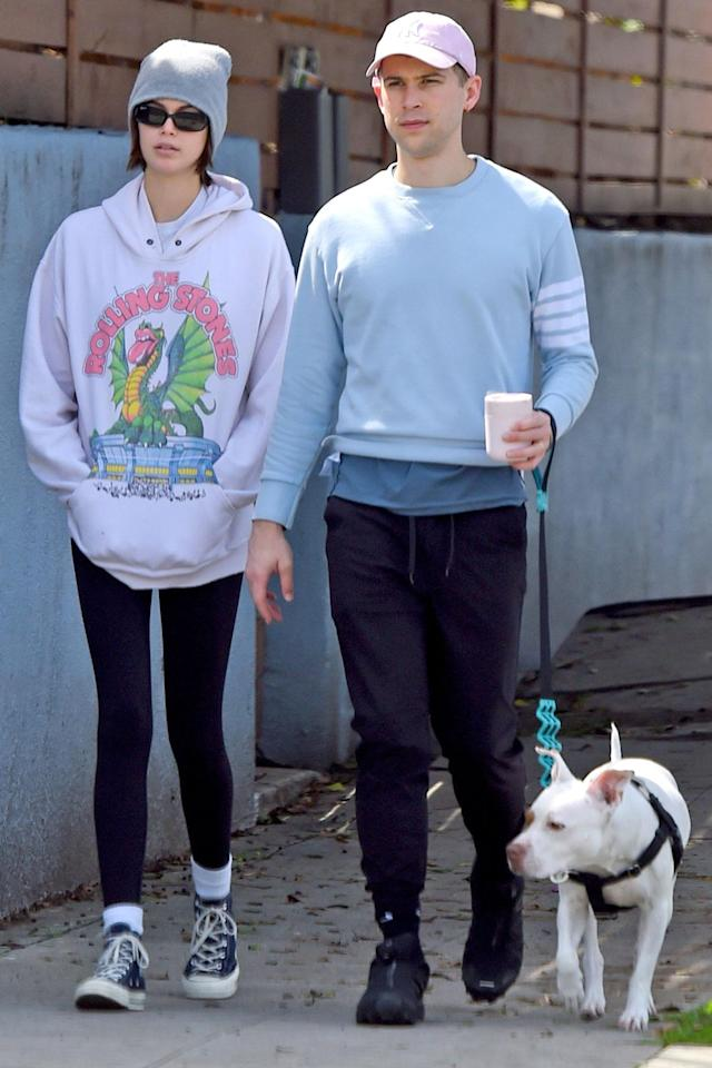 <p>Kaia Gerber and Tommy Dorfman get some exercise during a dog walk in Los Angeles on Saturday.</p>