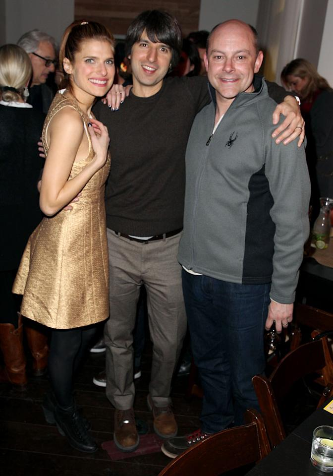 "PARK CITY, UT - JANUARY 20:  Actors Lake Bell, Demetri Martin and Rob Corddry attend ""In A World"" Dinner on January 20, 2013 in Park City, Utah.  (Photo by Joe Scarnici/Getty Images)"