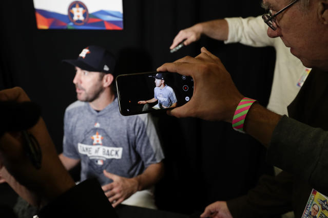 Houston Astros starting pitcher Justin Verlander talks to the media during a practice day for baseball's World Series Monday, Oct. 21, 2019, in Houston. The Houston Astros face the Washington Nationals in Game 1 on Tuesday. (AP Photo/Eric Gay)