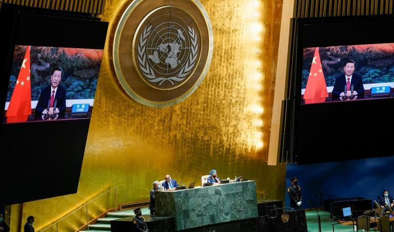 Chinese President Xi Jinping virtually addresses the UN General Assembly where he made a new pledge on climate (AFP/Mary Altaffer)