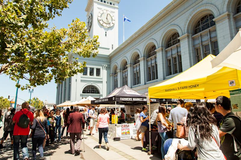 The farmers' market at the Ferry Building Marketplace in San Francisco