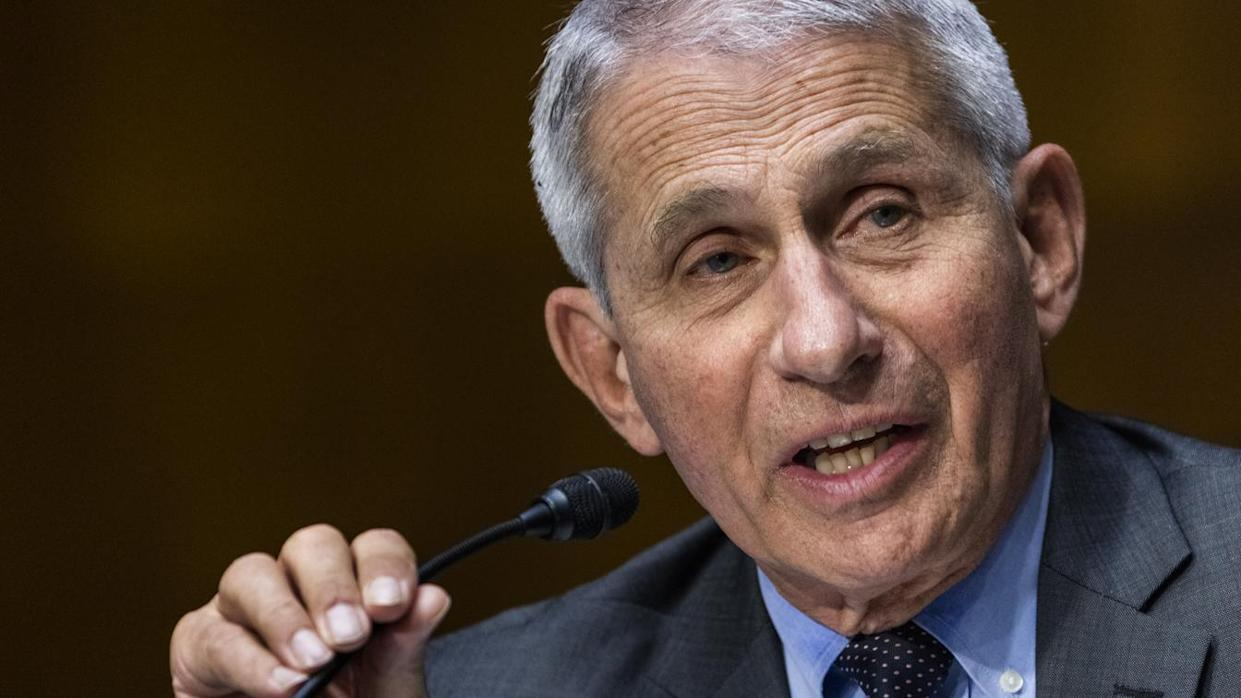 Anthony Fauci, director of the National Institute of Allergy and Infectious Diseases, speaks during a Senate Health, Education, Labor, and Pensions Committee hearing in Washington, D.C., U.S., on Tuesday, May 11, 2021. (Jim Lo Scalzo/EPA/Bloomberg via Getty Images)
