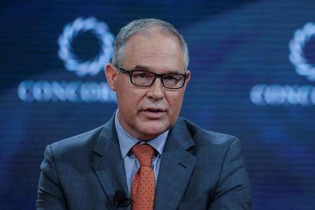 FILE PHOTO - Scott Pruitt,Administrator of the U.S. Environmental Protection Agency, answers a question during the Concordia Summit in Manhattan