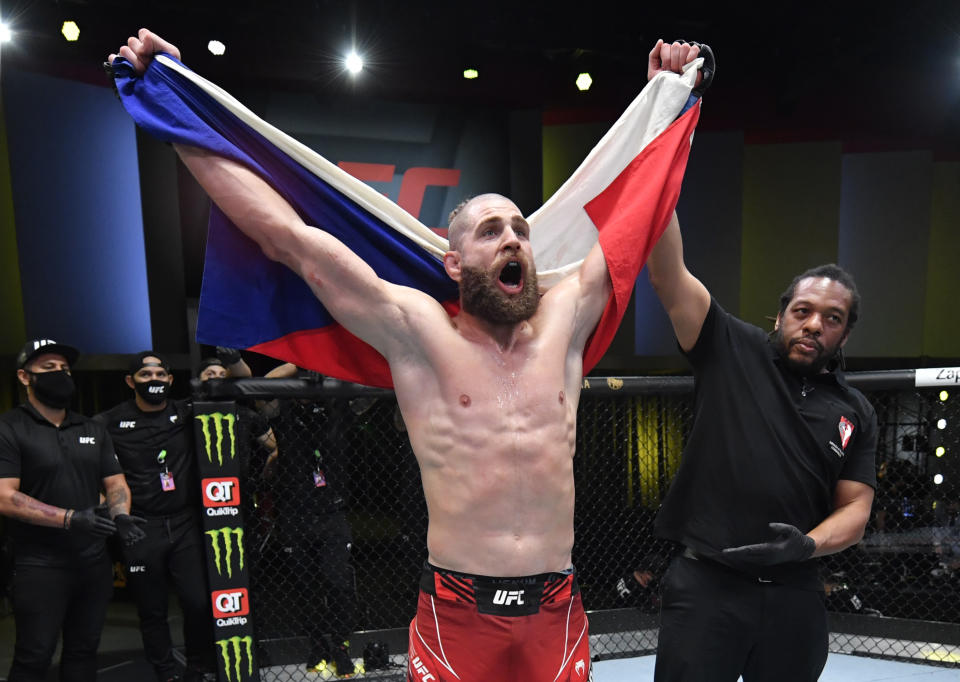 LAS VEGAS, NEVADA - MAY 01: Jiri Prochazka of the Czech Republic reacts after his knockout of Dominick Reyes in a light heavyweight bout during the UFC Fight Night event at UFC APEX on May 01, 2021 in Las Vegas, Nevada. (Photo by Jeff Bottari/Zuffa LLC)