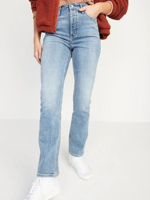 <p>These <span>Old Navy Extra High-Waisted Button-Fly Sky-Hi Kicker Boot-Cut Jeans</span> ($40) have an even higher rise than traditional high-rise jeans, and a subtle flare, too.</p>
