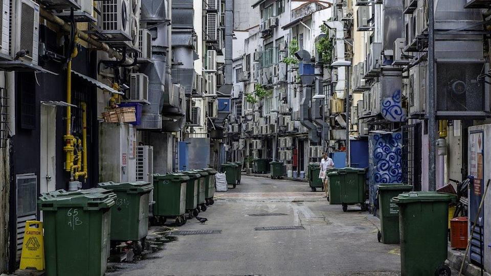 Alley Singapore green recycling bins