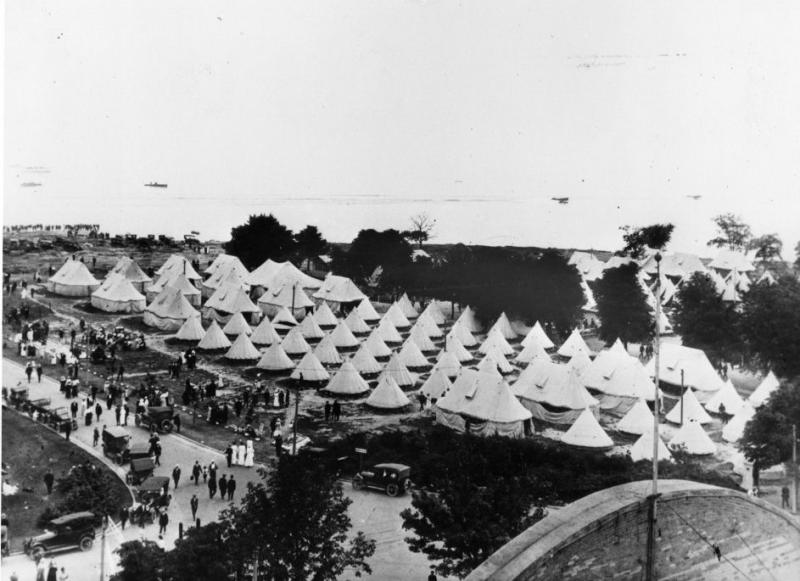 Military camp on CNE grounds during WWII