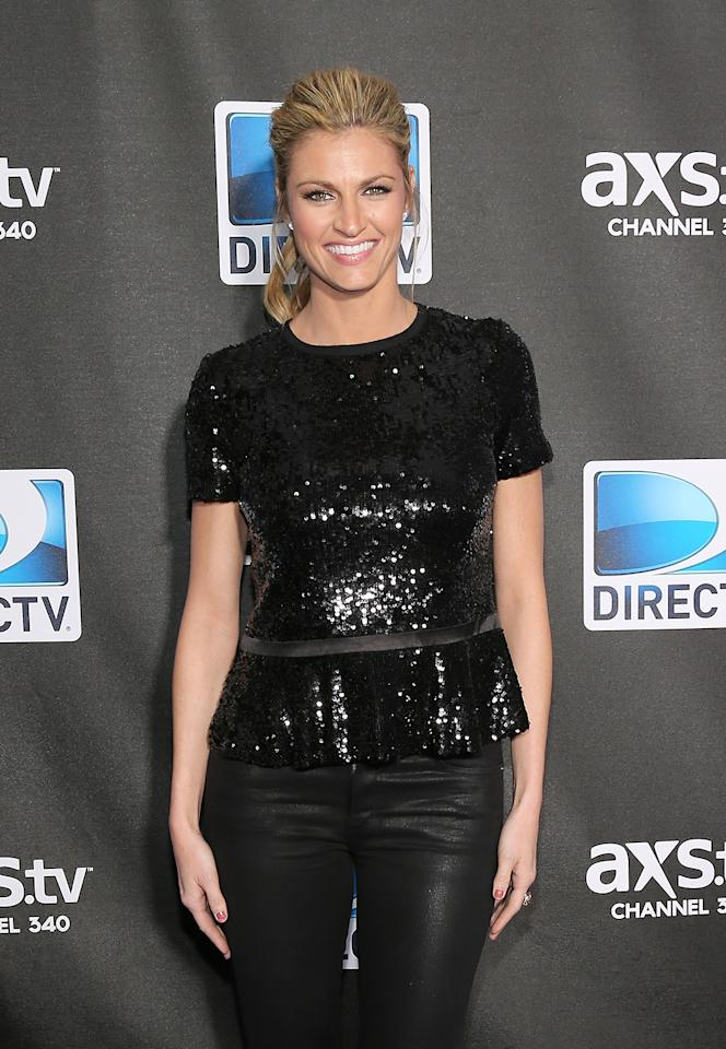 Erin Andrews attends DIRECTV Super Saturday Night Featuring Special Guest Justin Timberlake & Co-Hosted By Mark Cuban's AXS TV on February 2, 2013 in New Orleans, Louisiana.  (Photo by Neilson Barnard/Getty Images for DirecTV)