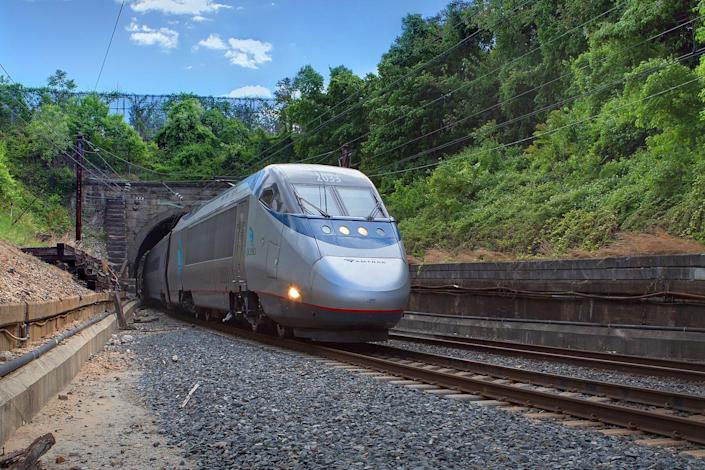 An Acela train emerges from the B&P Tunnel in Baltimore.