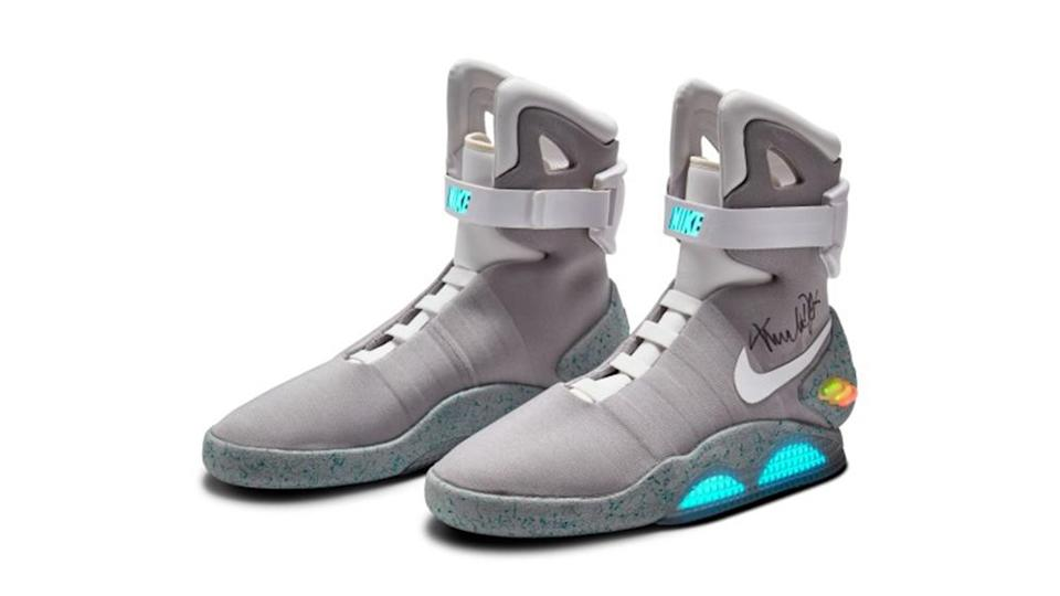 """Nike Mag """"Back to the Future"""" signed by Michael J. Fox. - Credit: Sotheby's"""