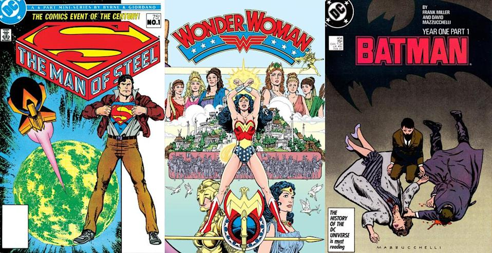 DC's Trinity of Superman, Batman and Wonder Woman get massive makeovers in 1986.